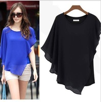 New women Irregular sexy Bevel chiffon top blouse lady pullover novelty ruffle batwing short sleeve shirt blouse top tee