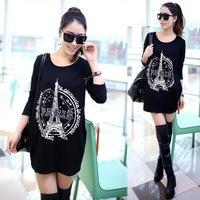 2014 New Design Black Color Paris print applique gauze Punk Stylish Long sleeve Round neck t-shirt Women t-shirts t shirt DM-08
