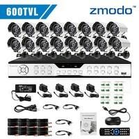 Zmodo 16CH H.264 DVR with 16pcs 600TVL Night Vision Outdoor Security Cameras complete cctv dvr system dvr kit
