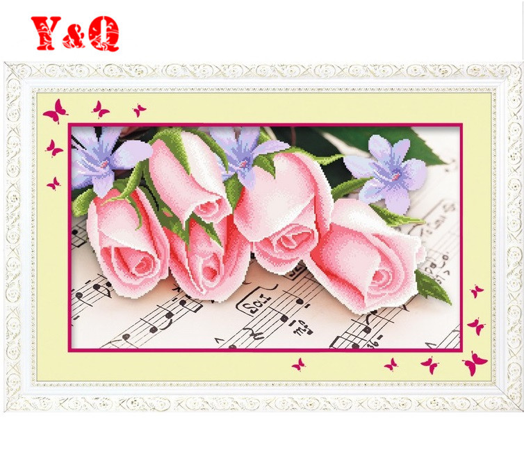 3D Pink Rose flowers cross stitch kit silk thread music embroidery flower DIY handmade needlework set wall home decor(China (Mainland))