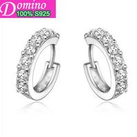 Sterling silver jewelry earrings Korean star models with small ears ring 925 sterling silver earrings