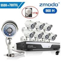 Zmodo 8ch cctv 960h cctv video surveillance security camera system 8pcs 700tvl outdoor camera dvr kit with 1tb HDD+Free Shipping