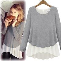 3 Colors Plus Size 2014 Autumn New Fashion Women O-neck Chiffon Knit Patckwork Long Sleeve Tshirt Lady Shirt Tops and Blouses