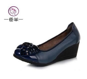 2014 high heels comfortable Женщины wedges shoes Натуральная кожа single Повседневный ...