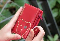 New arrival 2014 TEDDY BEAR pu leather long short brand design women female wallets carteira feminina ,Free Shipping x