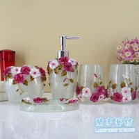 Resin floral decorated bathroom set  five pieces set  translucent  resin bath supplies  2 colors  foam  color box packing