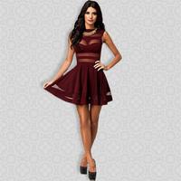 2014Newly Style Free Shipping Elegant Burgundy Red Mesh Insert Skater Dress Sexy Peplum Dress New Fashion Sheer Party Prom Dress