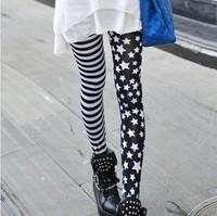 Spring 2014 Korean star american apparel personality fashion asymmetrical stripe leggings rock style women