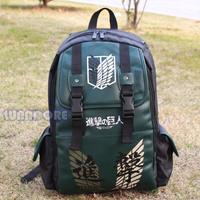 Free Shipping Attack On Titan  PVC Backpack Black  & Green anime student school bag laptop shoulder bag