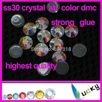 Free shipping 288pcs highest quality hotfix rhinestone Copy swarov 2038 ss30/6mm crystal ab color heat dmc strass for iron on