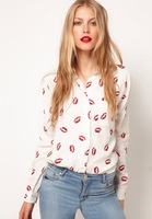 New 2014 Plus size blusas flower printed shirt women Red lip women Blouse Long Sleeve blouses 0043