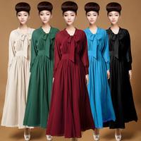 Designer Promotions Hot Trendy Cozy Fashion Bowknot Retro Women's Dress Double Chiffon Sexy Size Plus Side Slits Dress 7011 - 1#