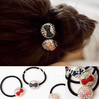 Free shipping Popular Half ball bow headband diamond Popular headdress rope