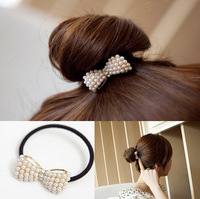 Hair accessory all-match pearl diamond bow headband hair rope rubber band