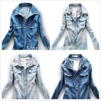 European style women denim blouse jean shirt slim shirt Dark Blue turn-down collar long-sleeve denim shirt female cowboy shirt