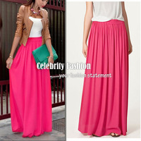 SK71 Celebrity Style Women's Pastel Flowy Volume Candy Coloured Pleated Maxi Long Skirt Plus Size 2014 New Free Drop Shipping