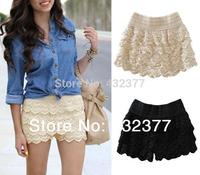 New 2014 Hot Sale Korean Fashion Women' Sweet Cute Crochet Tiered Lace Mini Skirt Pants Black/Beige Free shipping