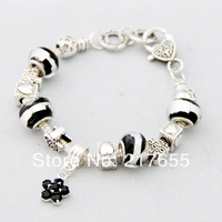 1pcs/ lot,charms star pendant lampwork glass beads bracelet 925 Sterling Silver Snake Chain Jewelry silvering