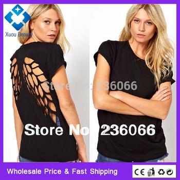 Мода майка для женщин Лазерные Backless Крылья Ангела Женская Белый черные шорты ...