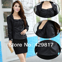 Ladies 2014 Spring Summer New Brand Korean Style Fashion Sweet Lace Cardigan Shirts / Female HQ Pleated Blouse With Strap/ A061