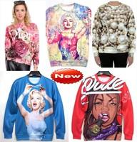 Fashion 2014 Women/Men sexy Marilyn Monroe/rose/pearl ice cream print Pullover 3D Sweatshirts Hoodies sky space sweaters Tops