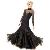 Skirt modern dance one-piece dress long-sleeve Ballroom dancing dress for woman black red