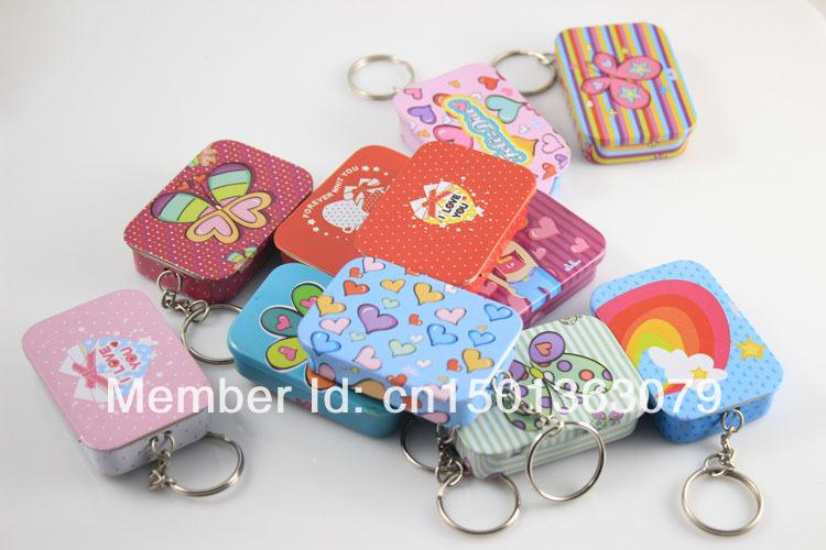 120 pcs/lot Fashionable Rectangle Shaped Iron Tin Storage Box Candy Box Pill Box with Key Chain -Free Shipping()