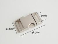 "(10pcs) 5/8"" or 15mm Webbing Contoured 100% Metal Steel Curved Side Release Buckles Silver for 550 Paracord Bracelets Bag Parts"