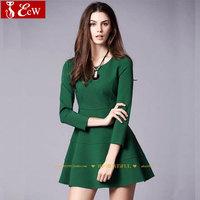 2015 Women Casual DressesThree quarter O neck Slim Fashion Dress New Spring Female Party dress
