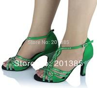 New Ladies Green Satin Crystal Rhinestone Ballroom Latin Samba Salsa Ceroc Tango Dance Shoes Size 34,35,36,37,38,39,40,41