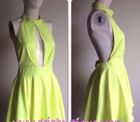 Free Shipping  2014 Fashion  backless summer colroful dress party dress  FT710