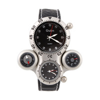 OULM Men's Sports Watches Leather Stap Military Watch Thermometer Compass Decoration Dropship Discount
