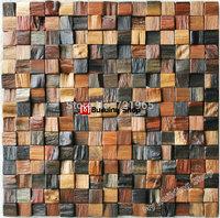 Ancient wood mosaic tiles backsplash NWMT065 natural wood mosaic pattern 3d wood mosaics kitchen wall tiles