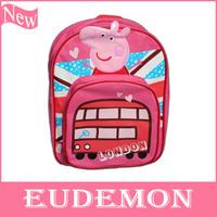 Spring 2014 Peppa Pig Backpack Fashion Children Bag School Pepa Pig Children Cartoon Bag Canvas BackPack Free Shipping