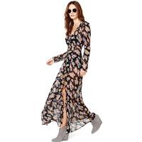 Summer Women Long Sleeve Dress Vestidos Print Bottons Split Sheer Flower Sexy V-Neck Chiffon Plus Size Casual Long Maxi Dress
