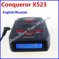 New Arrival - Conqueror Radar Detector X523 with Super Signal Russian Upgrade Version of X323 Super Advanced X-523 Free Shipping