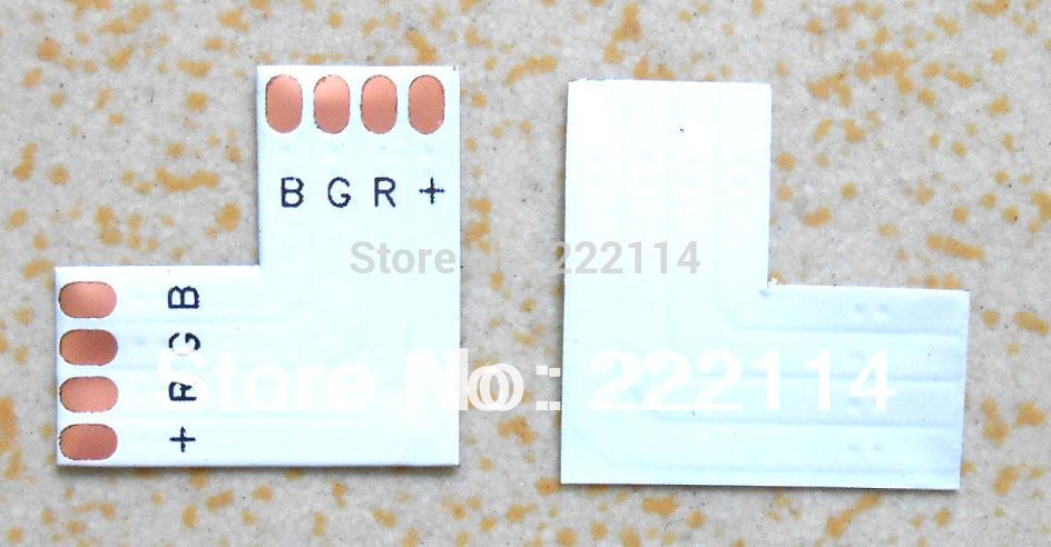 "10MM WIDTH L SHAPE CONNECTORS 100pcs LED flexible strip ribbon RGB White PCB ""L"" shape board Free shipping(China (Mainland))"