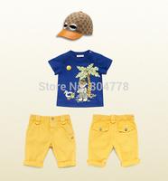 2014 POP 1-5Y Summer New Children's Clothing Suits Infant Boy Summer Clothes Leisure Sports Fashion T-shirt+Pants+Hat