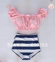 pink women navy stirpe biquini vintage high waisted bikini swimsuit retro swimwear push up sexy low cut tops swimsuits
