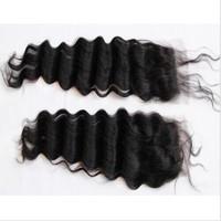 Brazilian Deep Wave Closure Natural Hair 3.5*4 Top Lace Closures Free Part  Natural /Color#1 Available