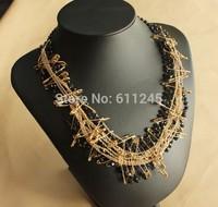 Fashion New Luxury Boutique Rhinestone Chains Safety Pin Women's Choker Necklace