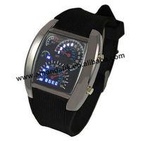100 pcs/lot Men's Watches Blue & Black Flash LED Military Watch Brand Sport Car Meter Dial digital wristWatch for Men Worldwide