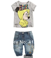 Wholesale new children boys clothing sets for summer girls baby short sleeve t shirt jeans pant suit set clothing