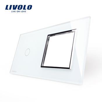, Livolo Luxury White Pearl Crystal Glass, 151mm*80mm, EU standard, 1Gang &1 ...