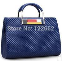 King flag genuine leather handbag 2014 new Europe and America fashional lady plaid big shoulder bag free shipping B-50