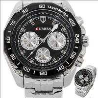 new 2014 men sports watches CURREN Fashion Black Bezel Analog Quartz Luxury Sport Silver Steel Mens Wrist Watch  male clock