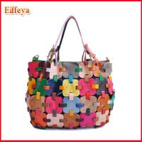 New Fashion 2014 Real Leather Fashion Luxury Lady Ladies Women Handbag Woman Handmade Patchwork Shoulder Bag W848