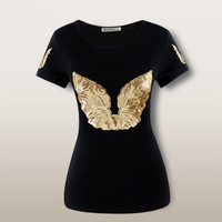2014 European and American style summer slim short-sleeve black T-shirt women plus size t shirt Golden angel wings