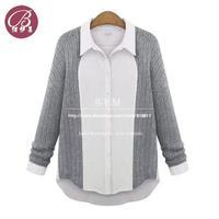 Wholesale women's 2014 spring new casual long sleeve shirts lapel stitching wool shirt chiffon blouses Free shipping