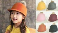 10pcs Cute Kid Spring Derby Infant Wool Felt Pom-pom Hats Style Babies Boys Fall Bowler Hat Girls Winter Cap Children Caps
